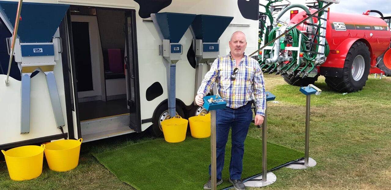 Orby Engineering MD Stephen Cromie_Feeding Parlour System_ Demo Van_Tullamore Show, Offaly, Ireland