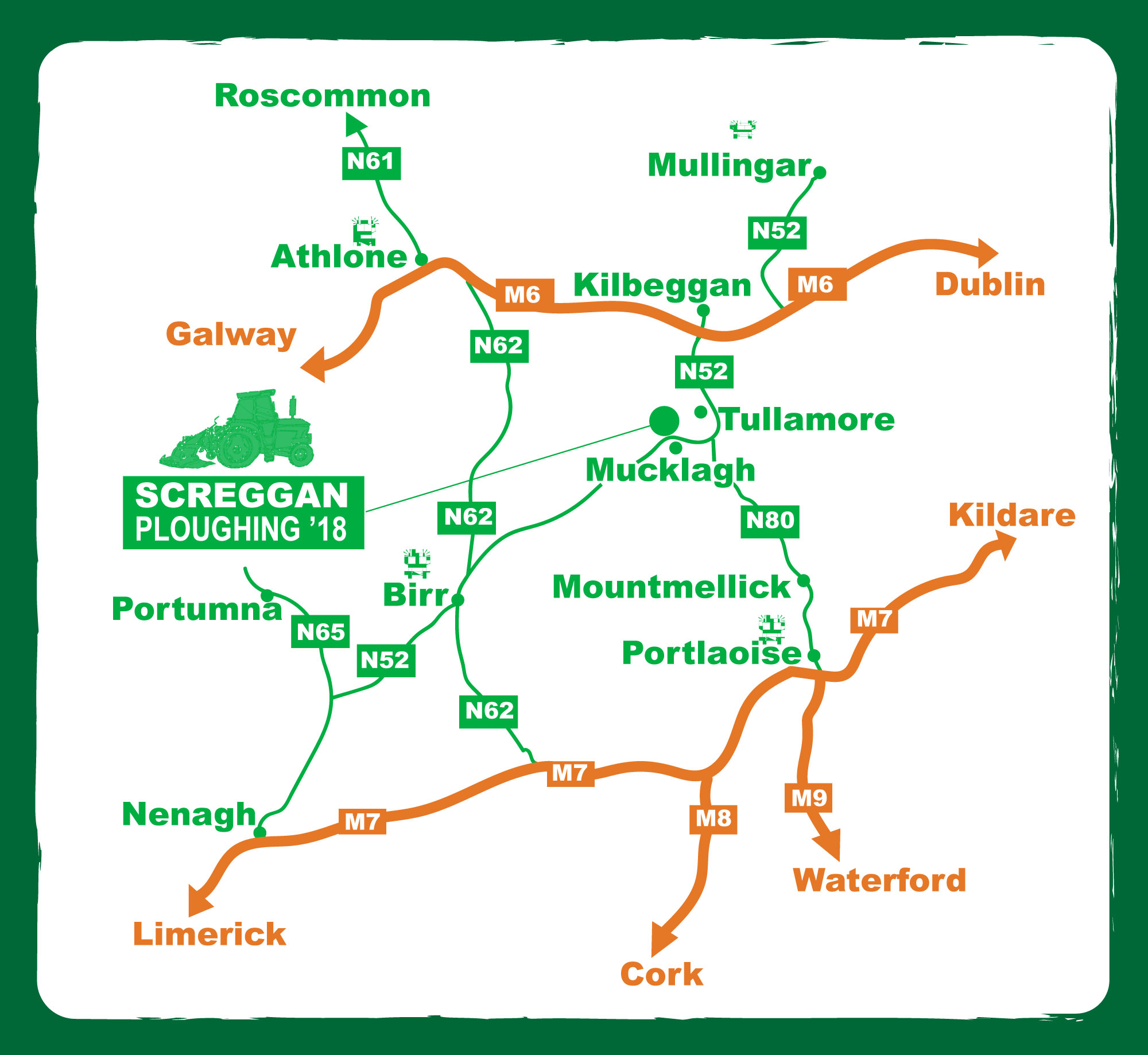 Direction to National Ploughing Championships_ Co. Offaly_ Screggan_Orby_Dairy Parlour Feeding Systems